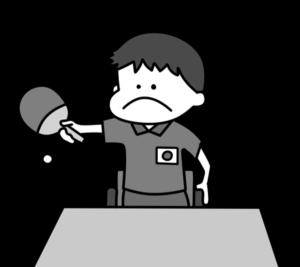 卓球 パラリンピック 日本代表 白黒フリー素材 男子