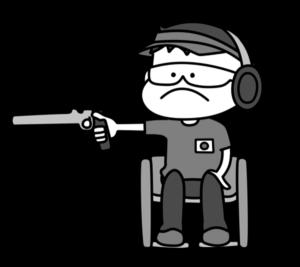 射撃 パラリンピック 日本代表 白黒フリー素材 男子