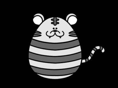 トラ 虎 2022年干支 寅年 白黒フリー素材 4月 イースターエッグ