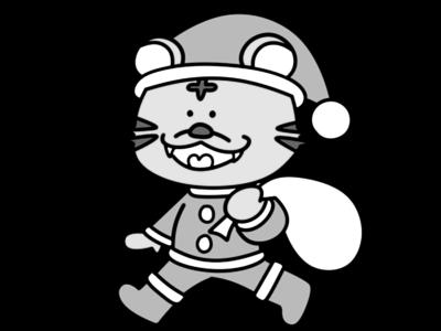 トラ 虎 2022年干支 寅年 白黒フリー素材 12月 クリスマス